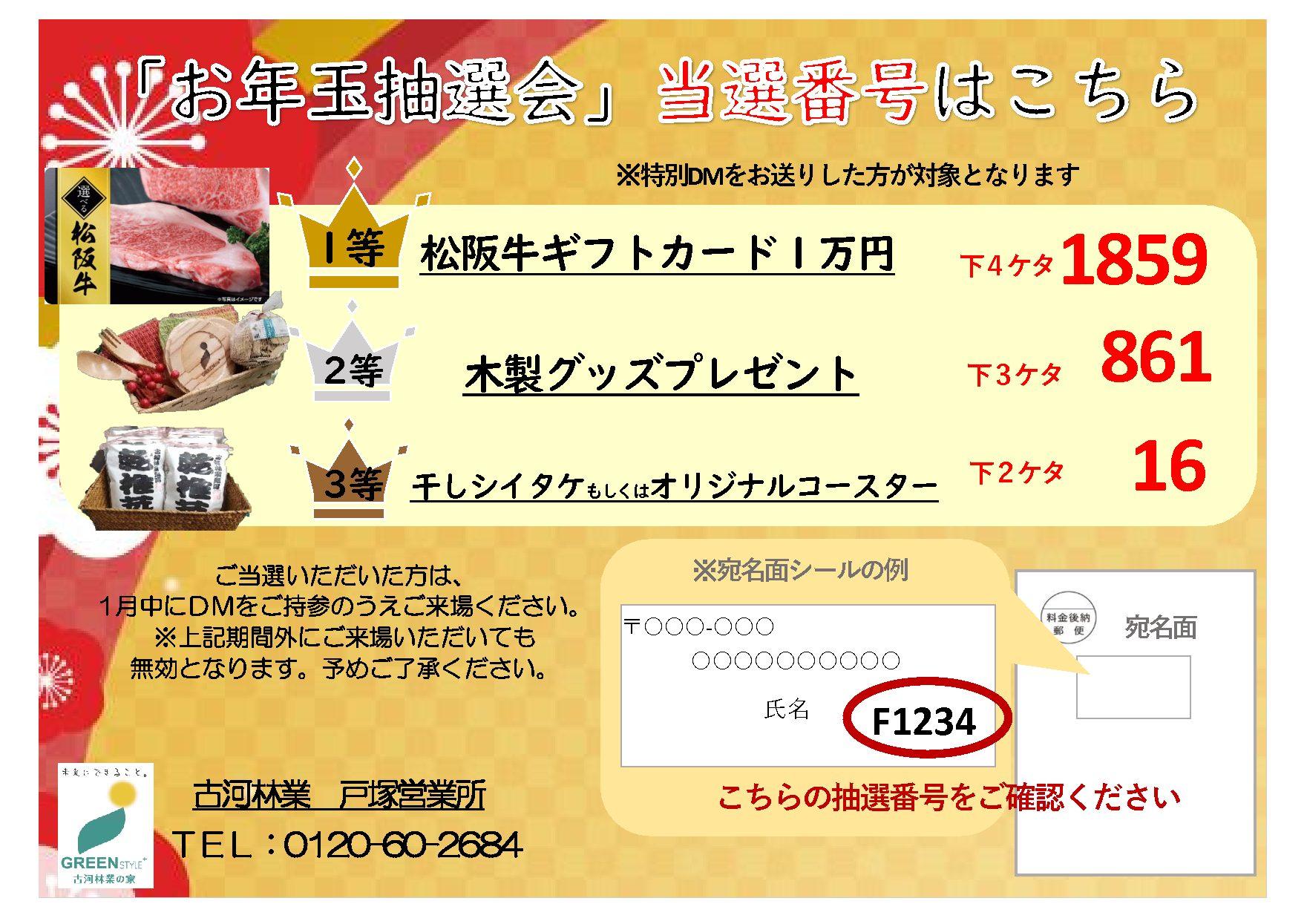 お年玉抽選会当選番号発表【戸塚】